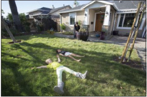 Kids on Native Grass Lawn